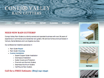 Conejo Valley Raingutters Web site